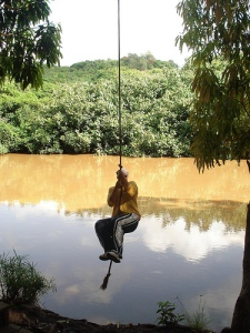 Swinging across river Just like Indiana Jones Did