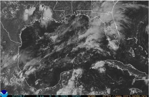visible satellite picture late Weds. showing lots of storms in the Gulf.